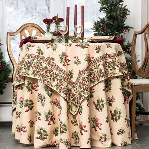 April Cornell Tablecloth Holly Berry 54x54 NWT
